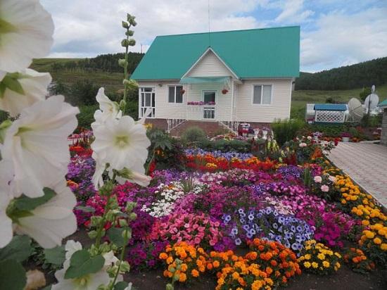 Фото цветник возле дома</span>